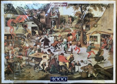 Image of the puzzle 4000, Waddingtons, Feast Day, Pieter Bruegel. Picture of the box.