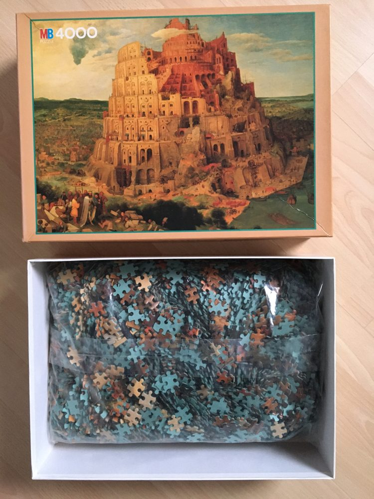 Image of the puzzle 4000, MB, Tower of Babel, Pieter Bruegel the Elder, Sealed Bag, Picture of the bag