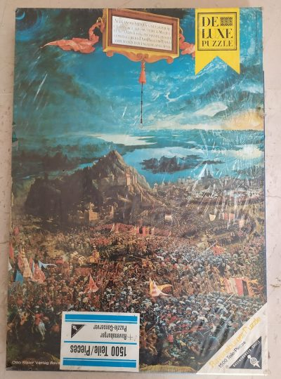 Image of the puzzle 1500, Ravensburger, The Battle of Alexander, Altdorfer, Factory Sealed, Picture of the box