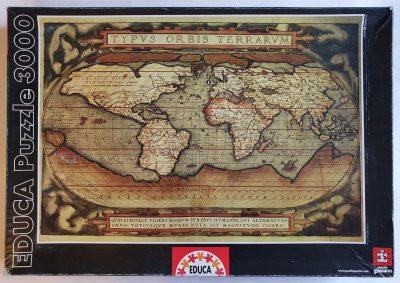 Image of the puzzle 3000, Educa, Typus Orbis Terrarum, Abraham Ortelius, Sealed Bag, Picture of the box