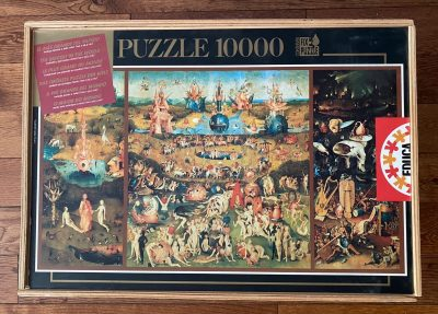 Image of the puzzle 10000, Educa, The Garden of Earthly Delights, Bosch. Picture of the box.