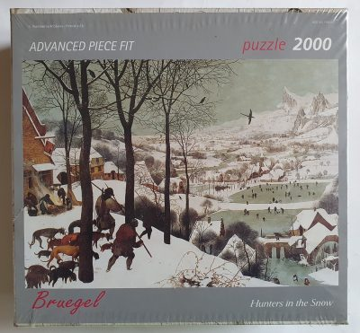 Image of the puzzle 2000, Art Stones, Hunters in the Snow, Pieter Bruegel the Elder. Picture of the box.