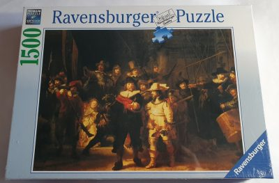 Image of the puzzle 1500, Ravensburger, The Night Watch, Rembrandt. Picture of the box.