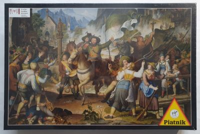 Image of the puzzle 1000, Piatnik, The Tyrolean Landsturm in 1809, 1819, Koch. Picture of the box.