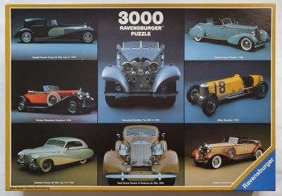 Image of the puzzle 3000, Ravensburger, Collage from Old Timers. Picture of the box.
