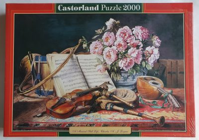Image of the puzzle 2000, Castorland, A Musical Still Life, by Charles Loyeux, Factory Sealed, Picture of the box.