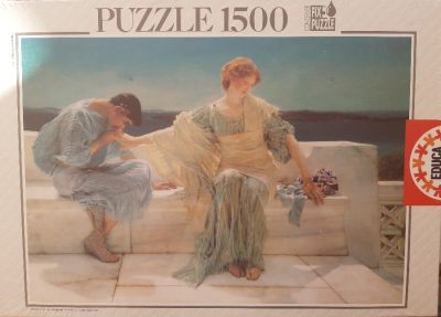 Image of the puzzle 1500, Educa, Ask me no More, Sir Lawrence Alma-Tadema. Picture of the box.