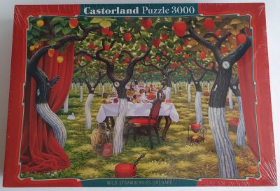 Image of the puzzle 3000, Castorland, Wild Strawberries Orchard, Jacek Yerka. Picture of the box.
