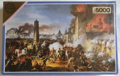 Image of the puzzle 5000, Falcon, The Attack and taking of Ratisbon, Charles Thévenin.. Picture of the box.