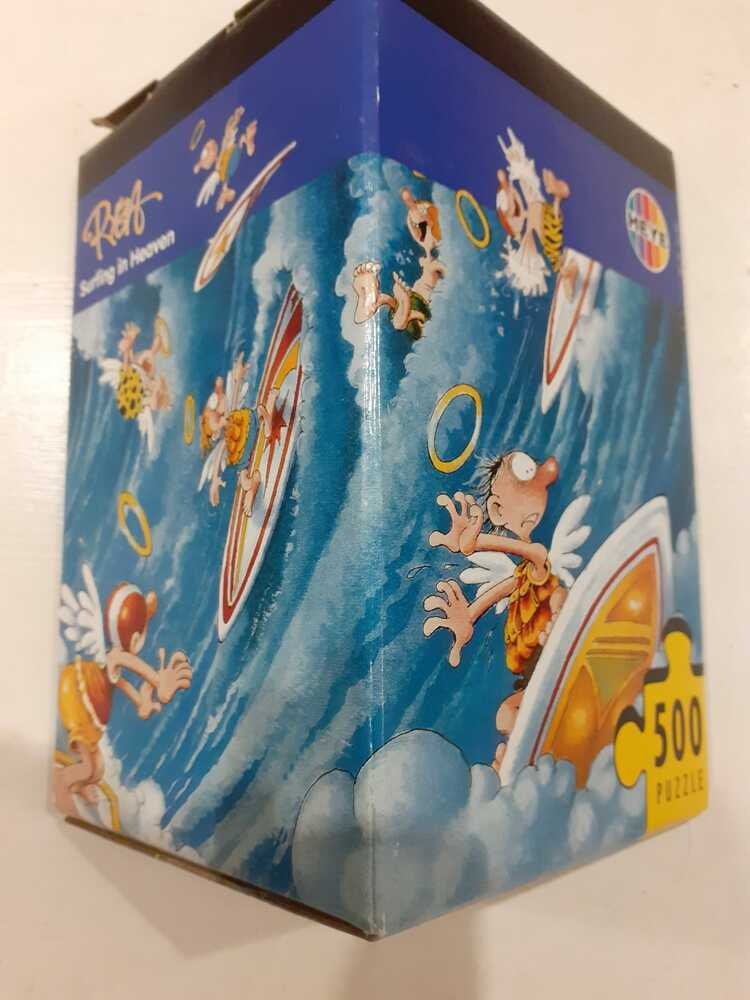 Image of the puzzle 500, Heye, Surfing in heaven, Marino Degano. Picture of the box.