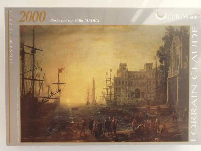 Image of the puzzle 2000, Ricordi, Port Scene with the Villa Medici, by Claude Lorrain, Factory Sealed