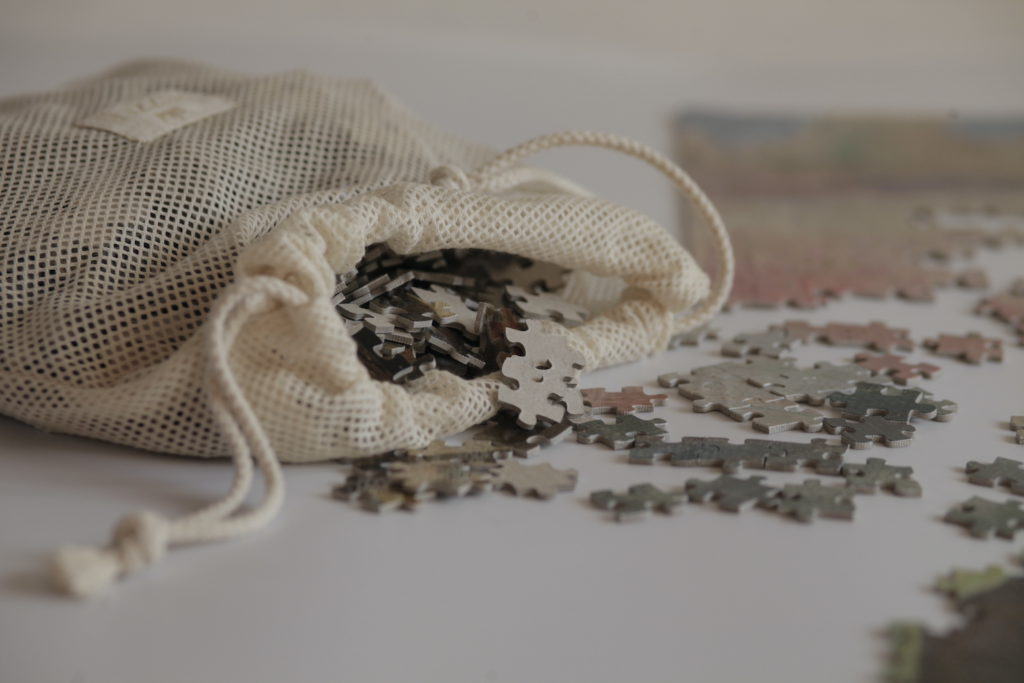 Image of an open puzzle bag